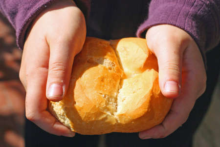 child who breaks a piece of bread with your hands Stock Photo - 12647528