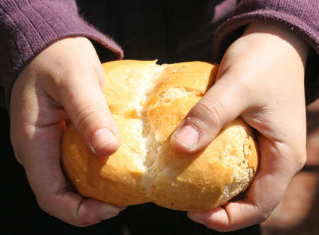 child who breaks a piece of bread with your hands photo