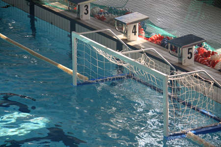 empty door in the pool during a game of water polo