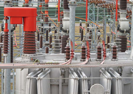 electricity from transformer high voltage at low and medium voltage Stock Photo - 12618146