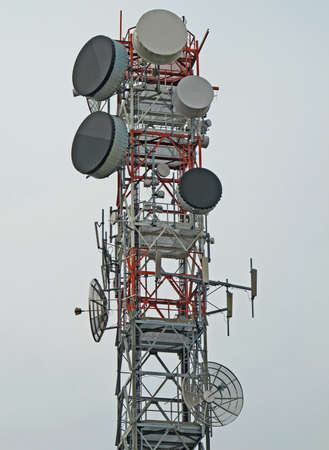parable: trellis with antenna for the repetition of television and mobile phone signals  Stock Photo