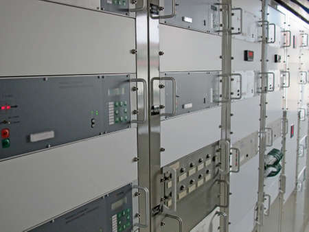 electrical control panel of an industry with production