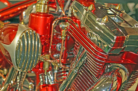 engine of a motorcycle with red and gold details photographed at close Stock Photo - 13052537