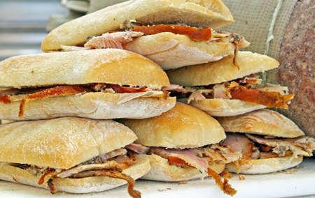 abundant and tasty sandwiches of roast pork and sauerkraut on sale Stock Photo