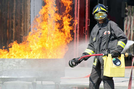 Italian firefighters in action during an exercise in the Firehouse