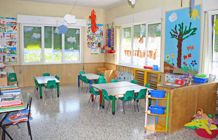 interior of a playroom a nursery kindergarten school in Italy
