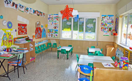 interior of a playroom a nursery kindergarten school in Italy