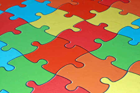 colored pieces of a complicated puzzle used as flooring in a school  Stock Photo