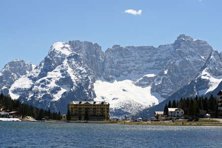 lake misurina: beautiful Blue Lake Misurina with dolomiti mountains in the background