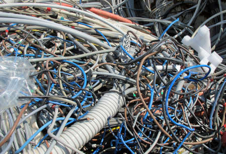 landfill of refuse with pieces of demolished electric cables Stock Photo - 13612167
