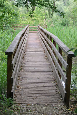 boardwalk trail: elevated wooden boardwalk nature trail in a nature park Stock Photo