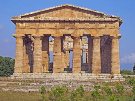 splendid ancient Greek columns of the temple very well preserved in Italy photo