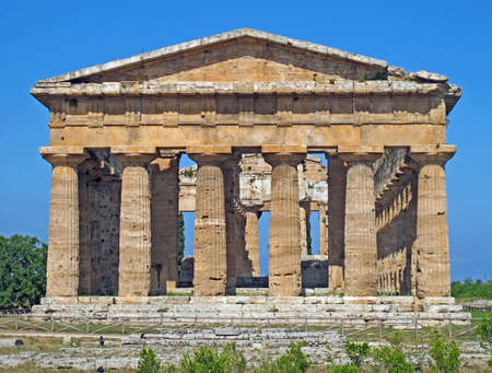precious and Ancient Greek temple with columns still intact photo