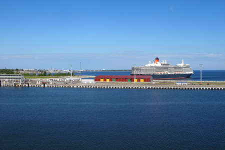 cruise ship passengers ready to sail from the harbour in Estonia photo