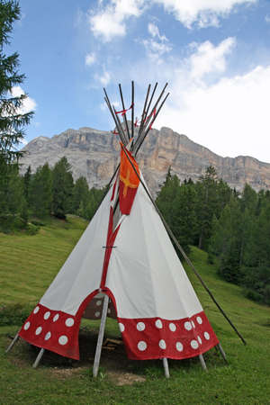cone shaped: indian tent cone shaped in an Indian reserve