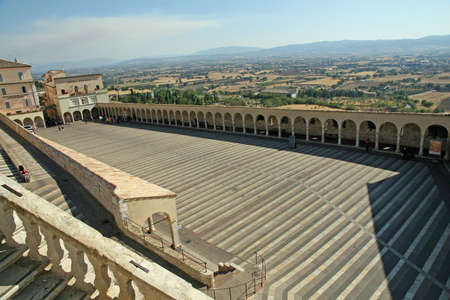 columns of the square of the Basilica of Saint Francis of Assisi photo