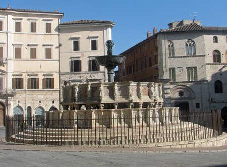 priori: Ancient Fontana Maggiore in the city of Perugia Stock Photo