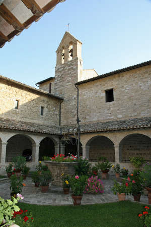 franciscan: bell tower  in the quiet cloister of the Franciscan Friary in assisi Stock Photo