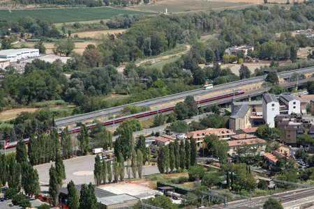 Panorama of the city of Orvieto and the train whizzes on fast track Stock Photo - 15015758