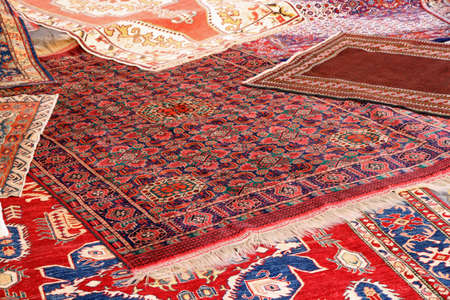 beautiful collection of valuable and colorful carpets of Afghan origin photo