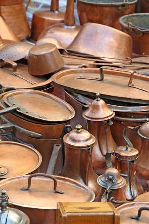 pots pans and ancient copper pots photo