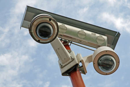 surveillance camera installed at the stadium photo