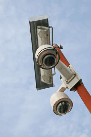 double camera video surveillance and security installed at the stadium Stock Photo - 15397936