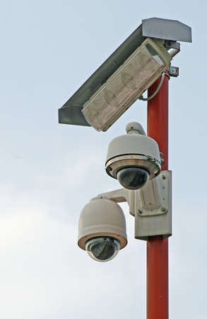 two CCTV cameras installed at the stadium Stock Photo - 15397929