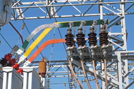 copper bars and insulators of electricity transformers in a electrical substation Stock Photo - 15398113