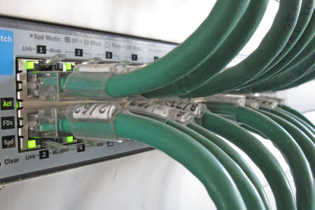 telephony: Green computer network cable in a data rack Stock Photo