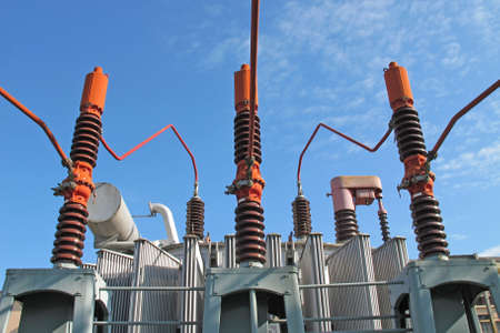 huge electricity transformer high voltage into a powerhouse of production of electricity Stock Photo - 15561904
