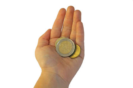 hand of a young girl who is holding two euros Stock Photo - 15713747