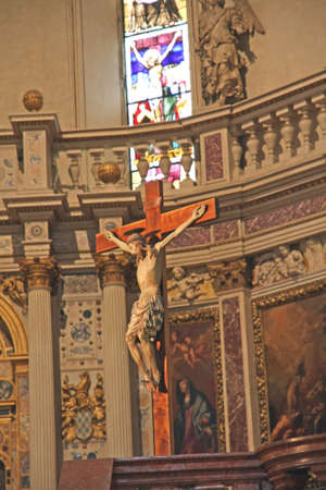 inri: precious wooden crucifix in the Cathedral of vicenza