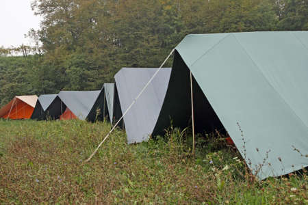 rovers: series of boy scout tents mounted on the grass on a cold winter day