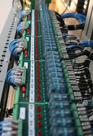 electrical panel with circuit boards and electrical contacts Stock Photo - 16293517