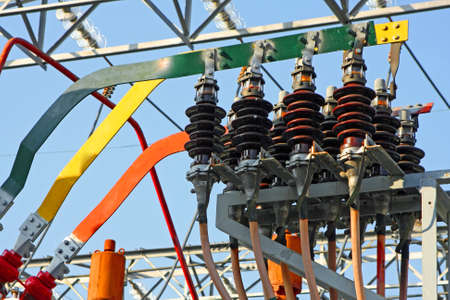 switches and insulators of a transformer in power plant electricity production photo