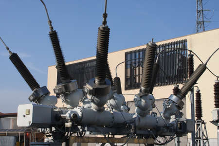 switches and insulators of a transformer in power plant electricity Stock Photo - 16293543