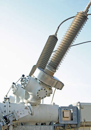 switches and insulators of a transformer in a big substation Stock Photo - 16293527