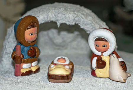 Eskimo Nativity scene with Holy Family in the igloo photo