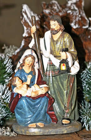st  joseph: Nativity scene with Mary and Joseph and baby Jesus