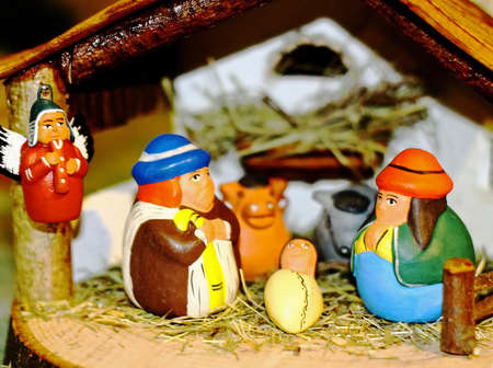 Latin American Nativity scene with Holy Family in the Manger photo