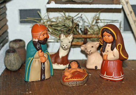 Nativity scene with Mary and Joseph and baby Jesus photo
