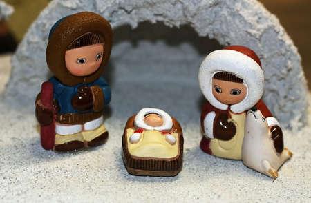 saami: crib Nativity ethnic with the Holy family of Nazareth Stock Photo