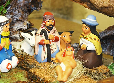crib Nativity ethnic with the Holy family of Nazareth Stock Photo - 16510449