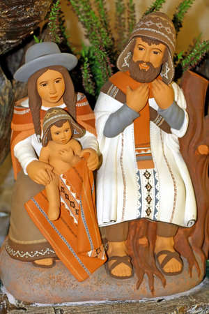 indios: Peruvian Nativity scene with Holy Family and baby Jesus