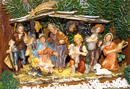 birth of jesus: Italian Nativity scene with Holy Family in the Manger Stock Photo