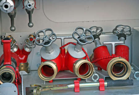 hoses and faucets of firefighters to connect pumps and hoses Stock Photo - 16626364