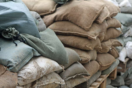 wall with sandbags and cement to guard Stock Photo - 16626320