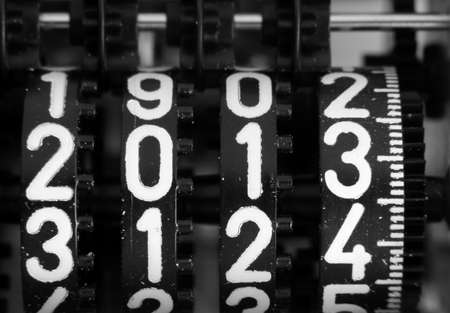 digits of a mechanical counter with the coming year 2013