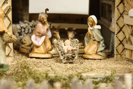 Crib with the nativity scene with figurines Stock Photo - 16625822